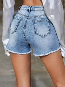 Raw Hem Ripped Floral Denim Shorts