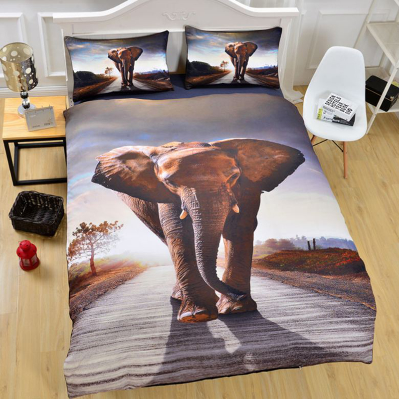 3D Elephant Printed Polyester 3-Piece Bedding Sets/Duvet Covers