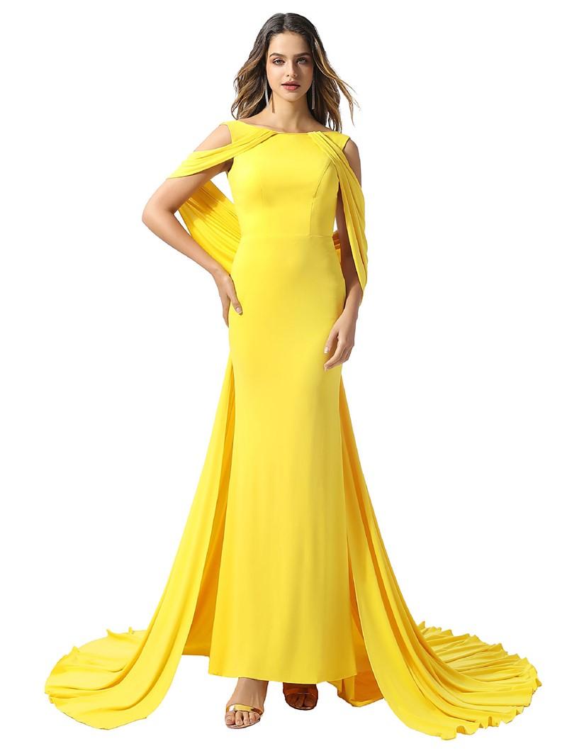 Ericdress Bateau Draped Sheath Evening Dress 2020
