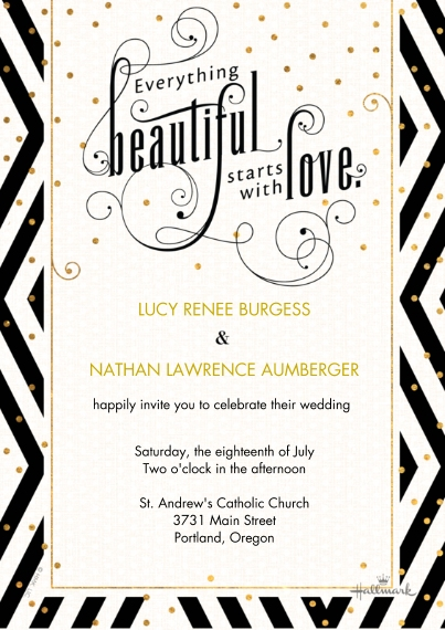 Wedding Invitations 5x7 Cards, Premium Cardstock 120lb with Elegant Corners, Card & Stationery -Everything Beautiful Invitation