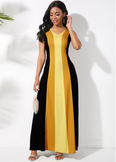 Cocktail Party Dress V Neck Sleeveless Color Block Maxi Dress - S