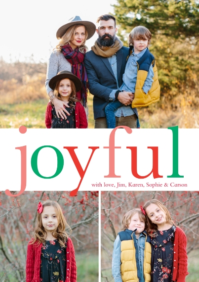 Holiday Photo Cards Flat Matte Photo Paper Cards with Envelopes, 5x7, Card & Stationery -Joyful