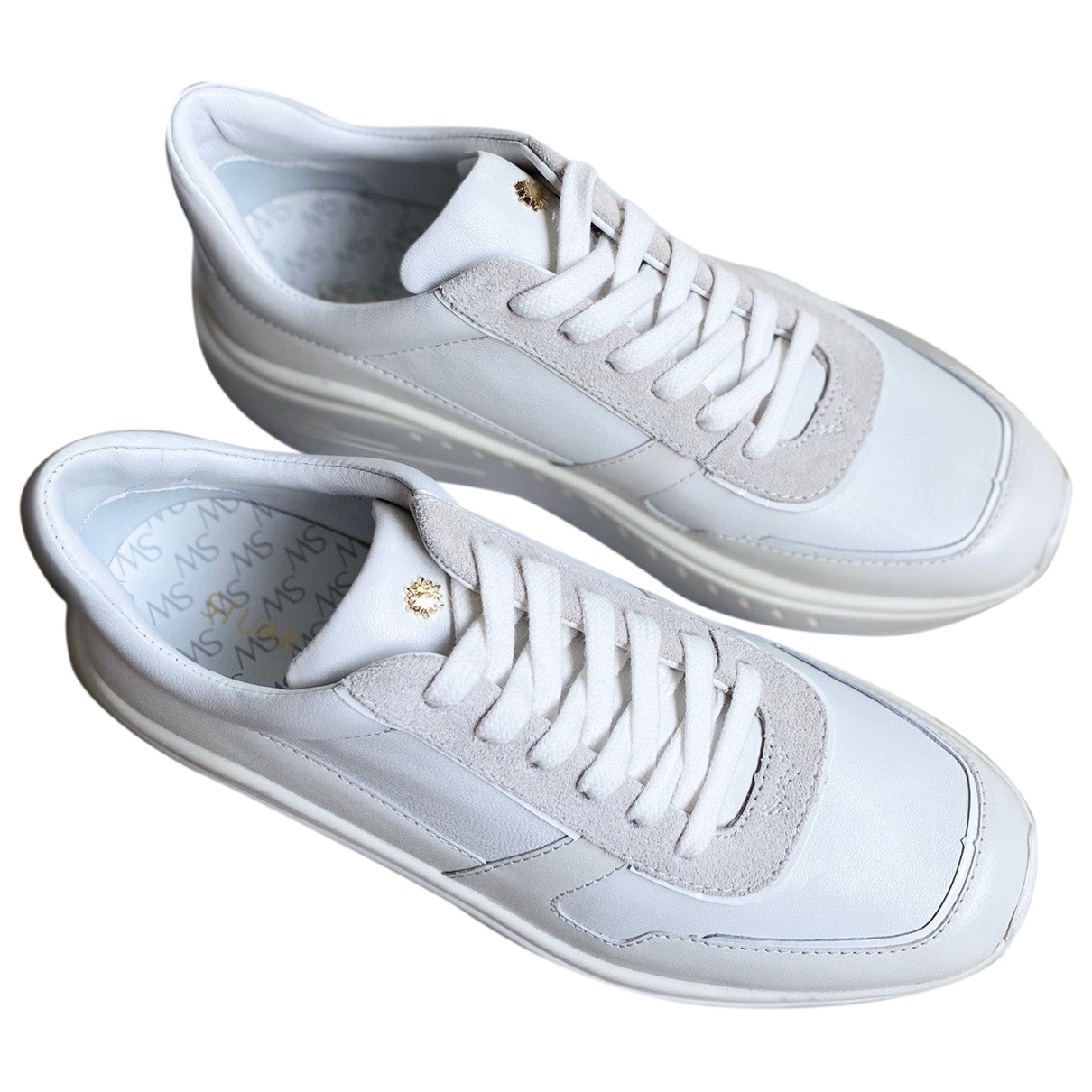 Stuart Weitzman \N White Leather Trainers for Women 36 EU