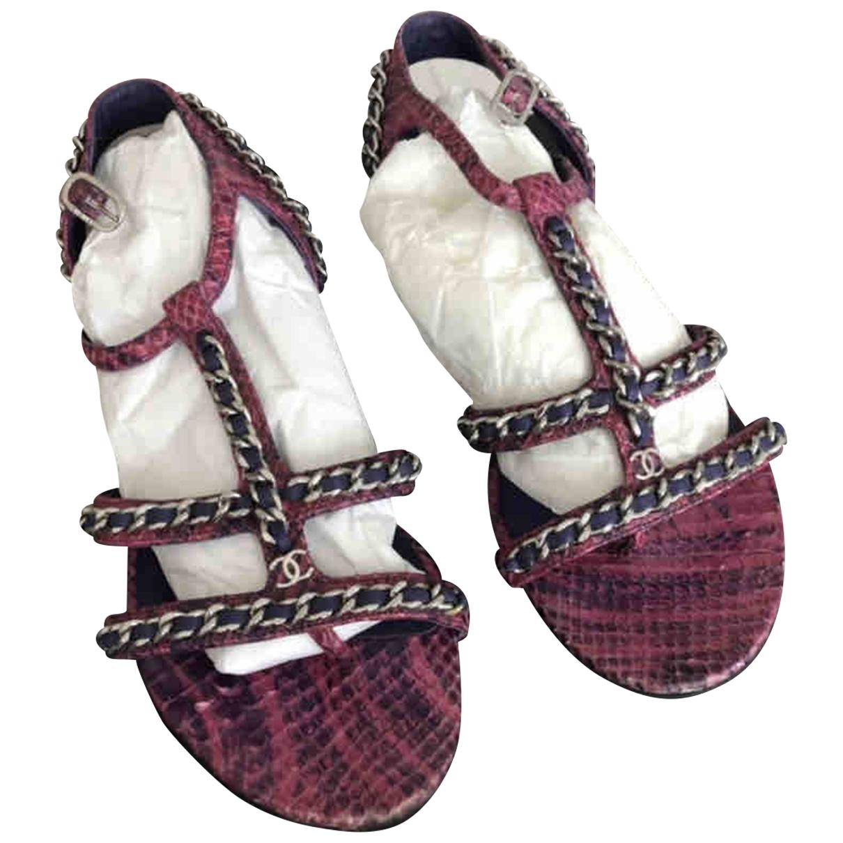 Chanel - Sandales   pour femme en python - rose