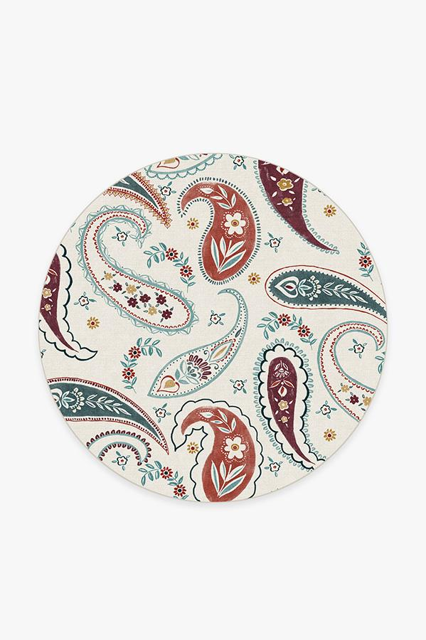 Washable Rug Cover | Boteh Multicolor Rug | Stain-Resistant | Ruggable | 6' Round