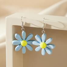 1pair Floral Decor Drop Earrings