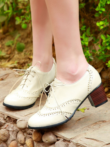 Milanoo White Oxford Shoes Women Round Toe Lace Up Oxfords