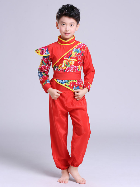 Milanoo Kid Chinese Costumes Red Kung Fu Tang Suit Carnival Costumes