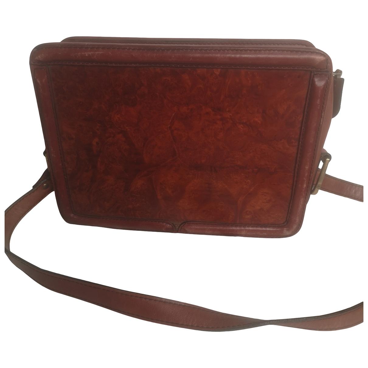 Non Signe / Unsigned \N Handtasche in  Bordeauxrot Leder