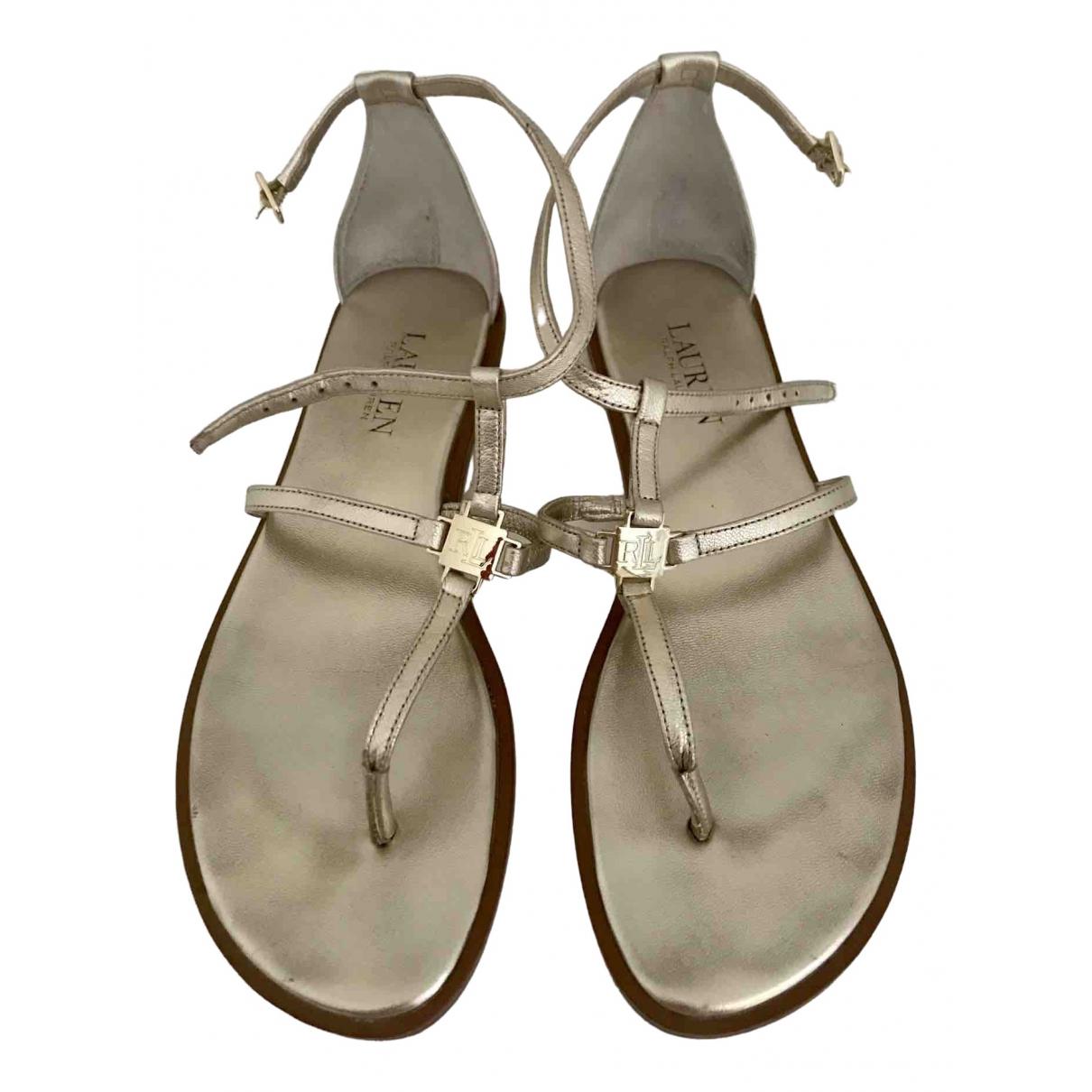Lauren Ralph Lauren \N Metallic Leather Sandals for Women 39 EU