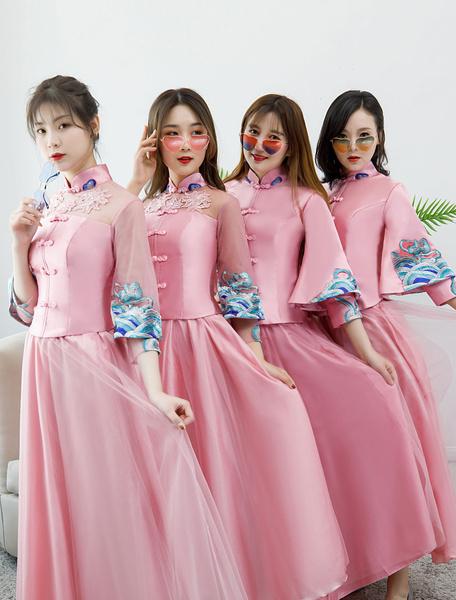Milanoo Pink Bridesmaid Dress 2020 Satin Stand Collar Half Sleeve Crop Top Ankle Length Graduation Party Dresses