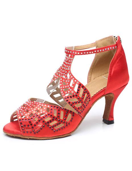 Milanoo Latin Dance Shoes Red Peep Toe Cut Out Ballroom Shoes Dance Shoes