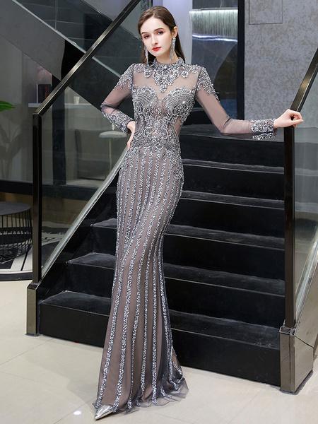 Milanoo Vestidos de noche Sirena Joya Manga larga Hasta el suelo Vestido de cena formal