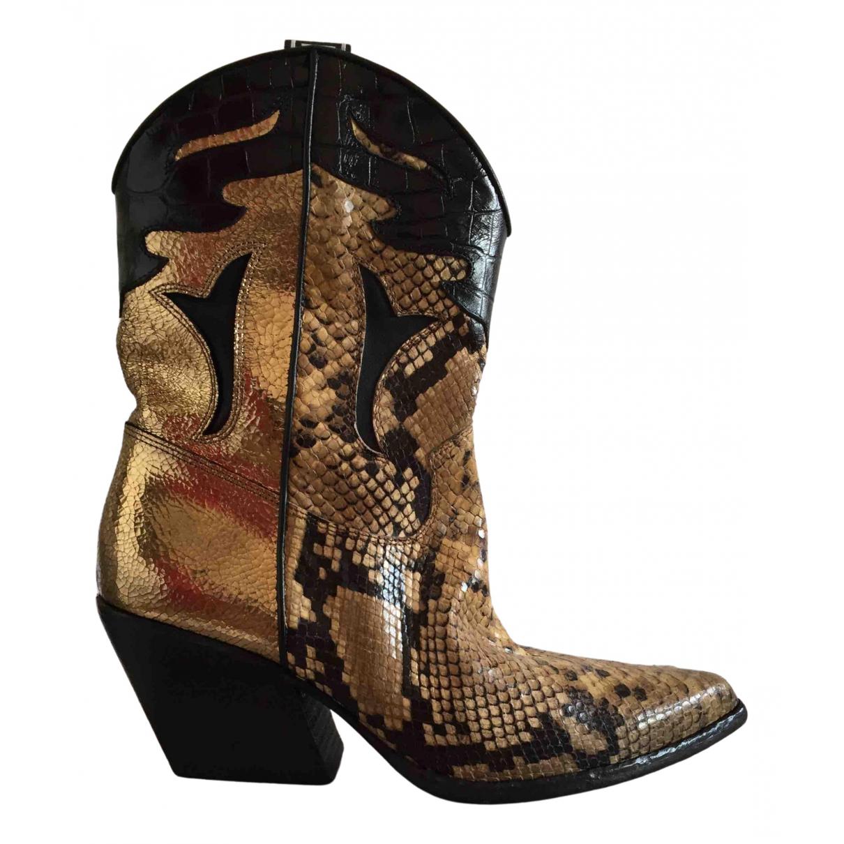 Elena Iachi - Boots   pour femme en cuir - dore