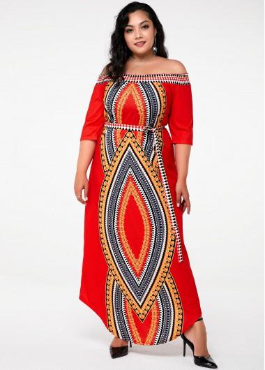 Tribal Print Off the Shoulder Plus Size Dress - 3X