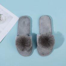 Open Toe Pom Pom Decor Fluffy Slippers