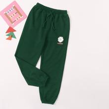 Girls Flower & Letter Graphic Sweatpants