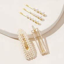 5pcs Faux Pearl Decor Haarspangen