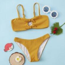 Bikini Badeanzug mit Ausschnitt und Knoten vorn