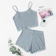 Conjunto de pijama de tirantes de canale con encaje en contraste