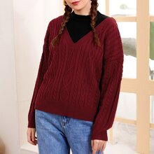 Drop Shoulder Cable Knit 2 In 1 Sweater