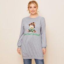 Langes Sweatshirt mit Katze und Buchstaben Grafik