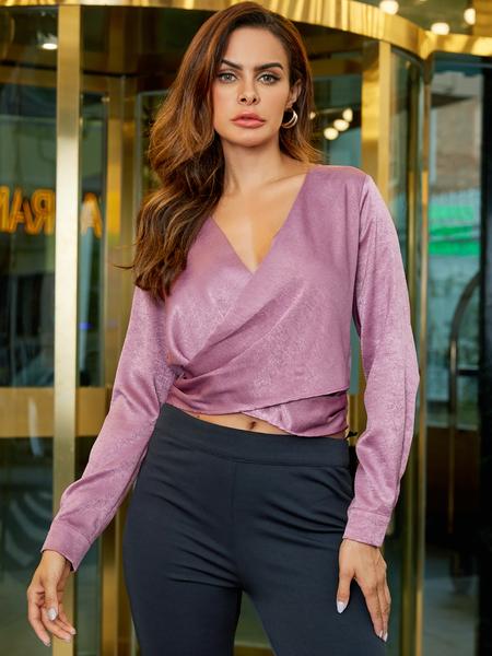 YOINS Pink Crossed Front Wrap Design Long Sleeves Blouse