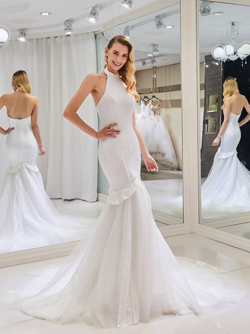 Ericdress Halter Beading Mermaid Backless Wedding Dress