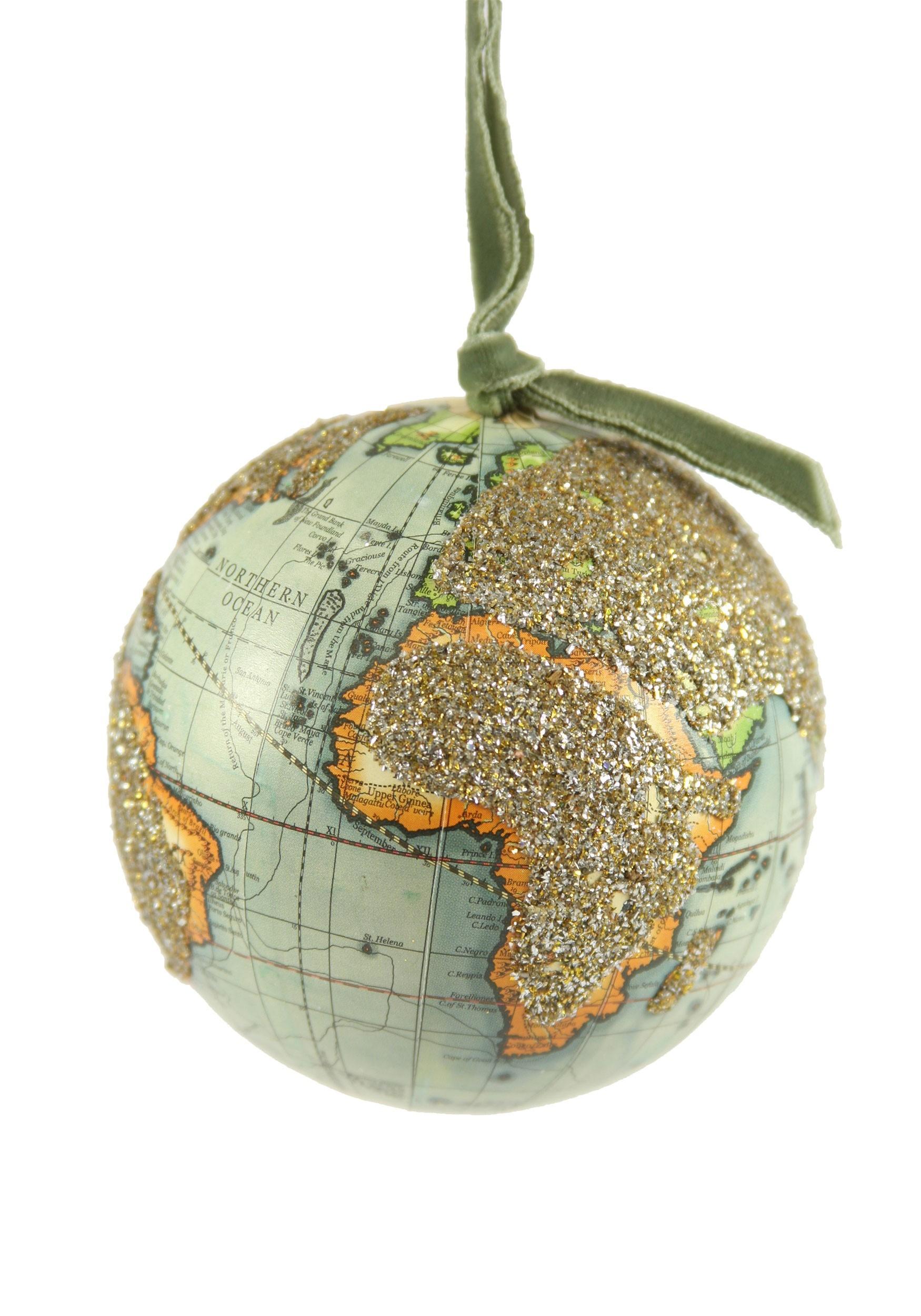 Ornament Glittered World Globe