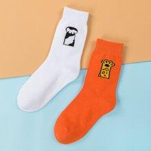 2pairs Cartoon Graphic Socks