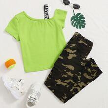 Top mit asymmetrischem Kragen & Hose mit Klappe, Taschen und Karo Muster Set