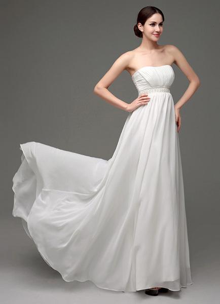 Milanoo Vestido de novia de chifon con escote palabra de honor y botones