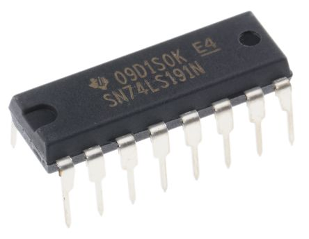 Texas Instruments SN74LS191N 4-stage Binary Counter, Up/Down Counter, Bi-Directional, 16-Pin PDIP