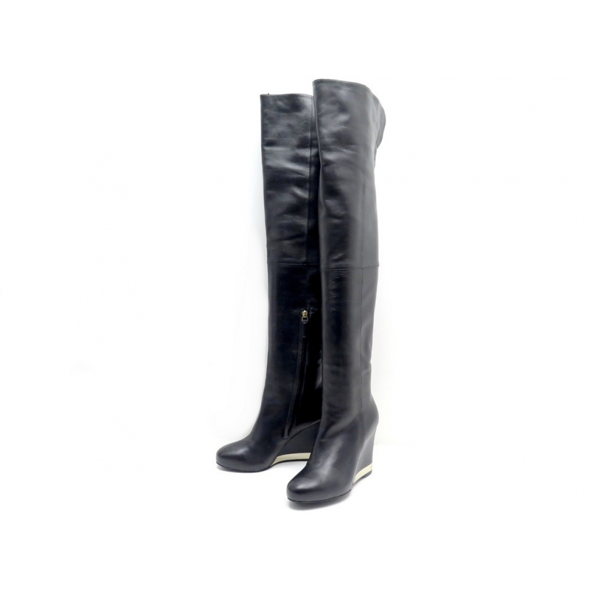 Chanel \N Black Leather Boots for Women 38 EU