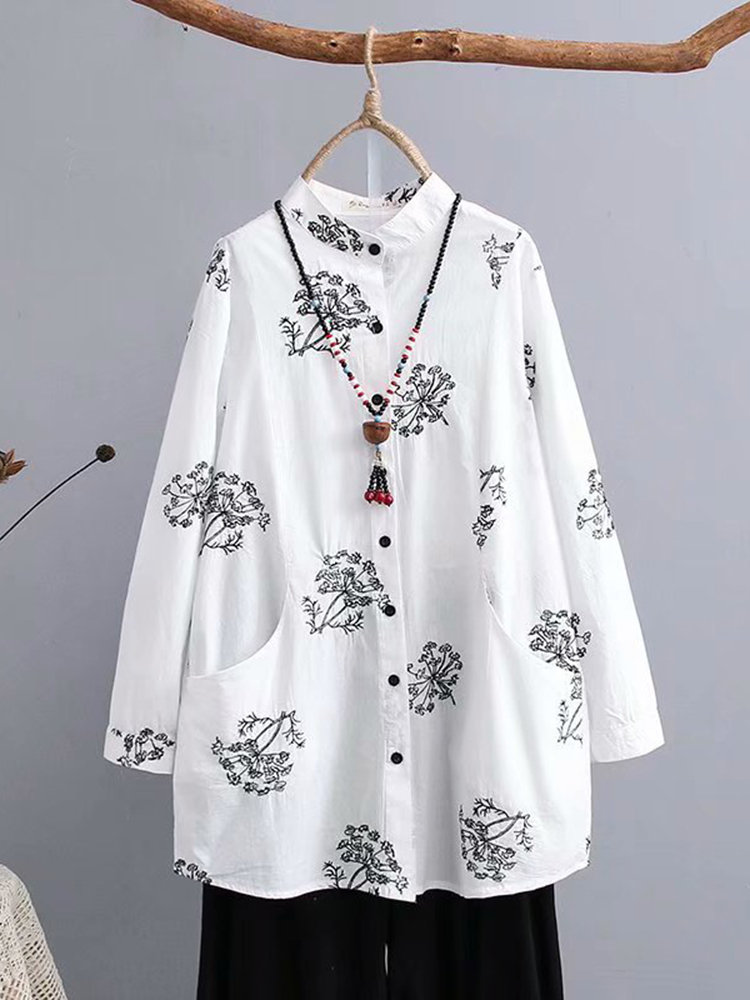 Embroidery Vintage Stand Collar Blouse