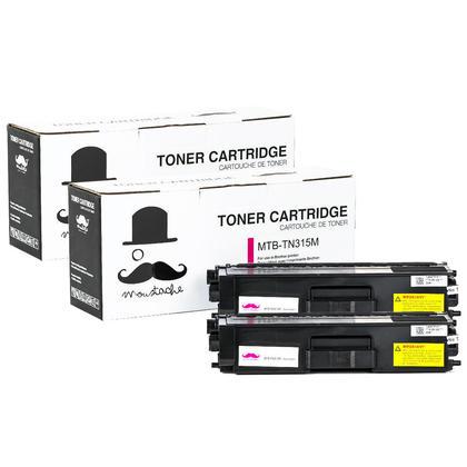 Compatible Brother TN315M cartouche de toner magenta haute capacite - Moustache@ - 2/paquet