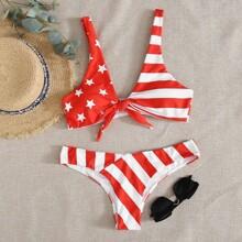 Bañador bikini con nudo delantero de rayas con estrella