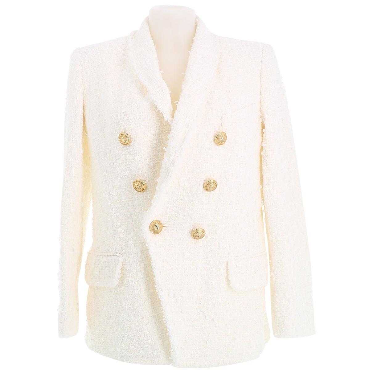 Balmain - Veste   pour femme en tweed - blanc