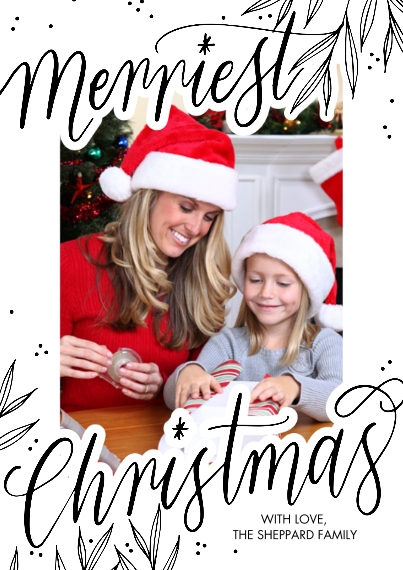 Christmas Photo Cards Set of 20, Premium 5x7 Foil Card, Card & Stationery -Christmas Foil Merriest Script by Tumbalina