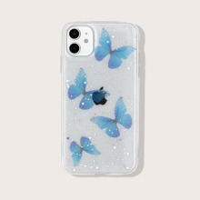Butterfly Print Glitter iPhone Case