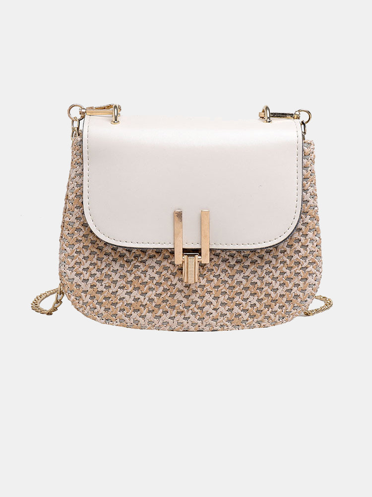 Women Woven Flap Chain Crossbody Bag Shoulder Bag