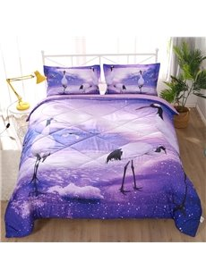 White Crane on A Purple Lake 3D Printed 3-Piece Polyester Comforter Sets