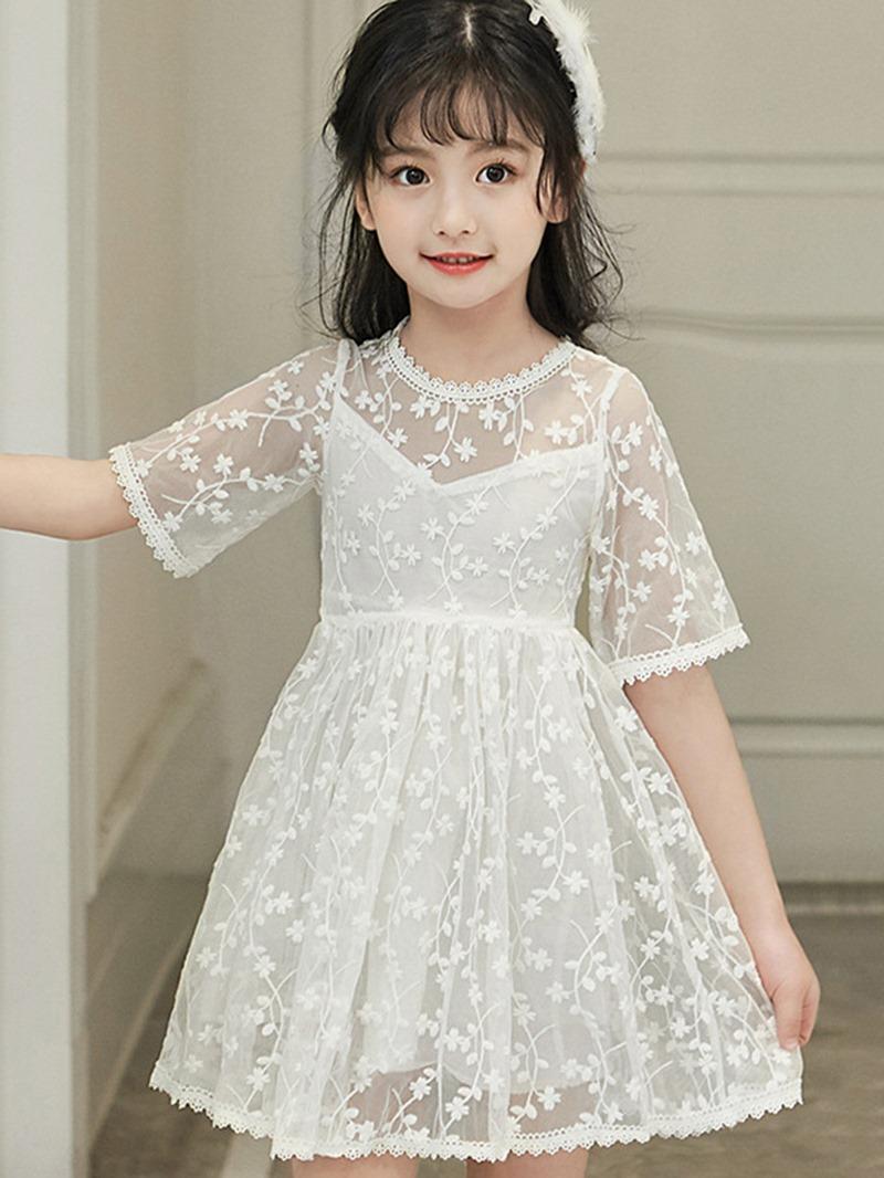 Ericdress Lace See-Through Half Sleeve Girls Dress
