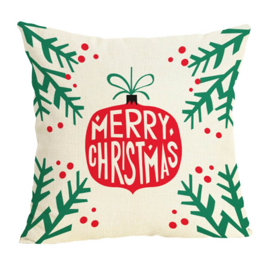 LW Lovely Stylish Christmas Day Print Red Decorative Pillow Case