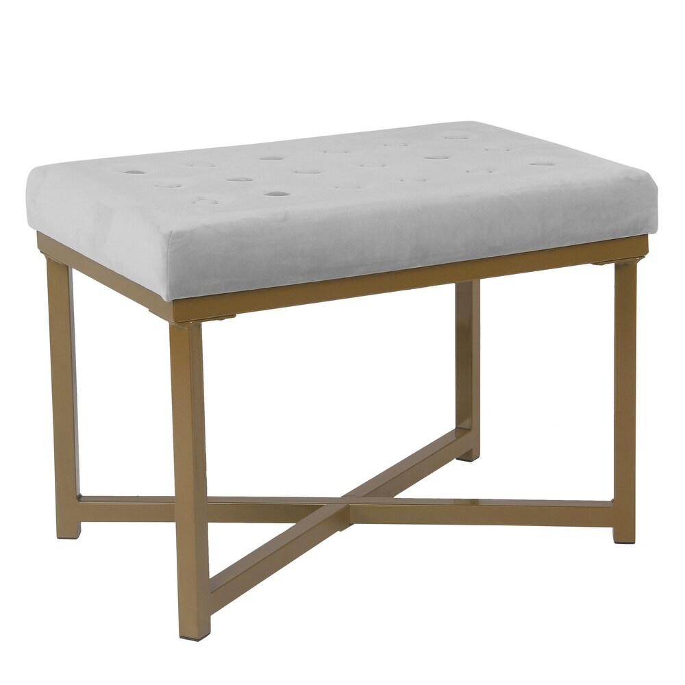 Metal Framed Ottoman with Button Tufted Velvet Upholstered Seat, Light Gray and Gold
