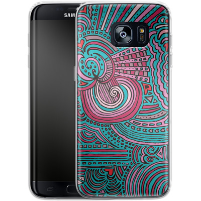 Samsung Galaxy S7 Edge Silikon Handyhuelle - Drawing Meditation Turquoise von Kaitlyn Parker
