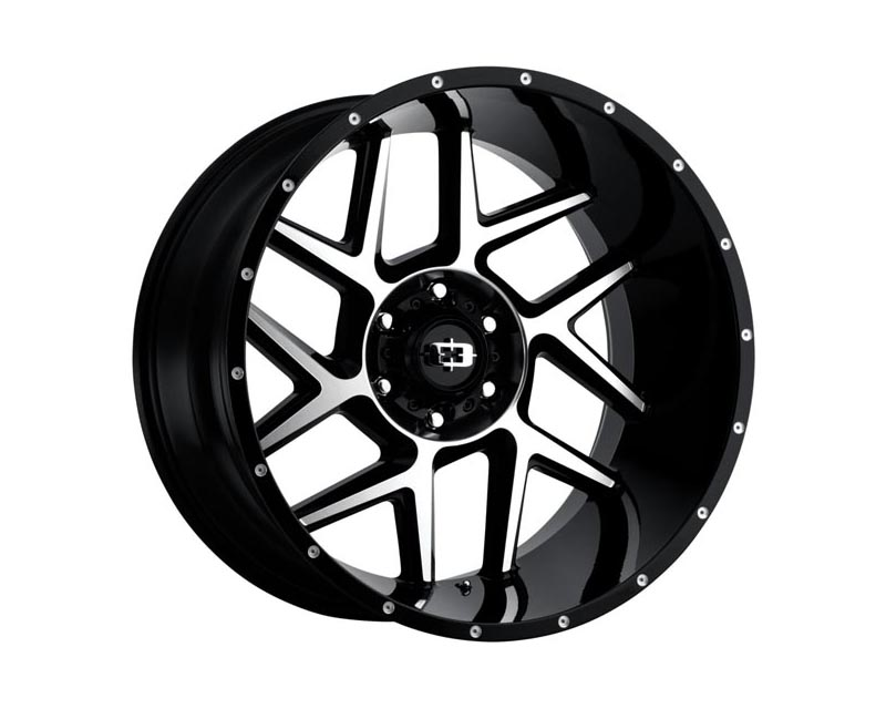 Vision Wheels 360-24281GBMF-51 Sliver Wheel 24x12 8x165.10x51 BKGLMS Gloss Black Machined Face