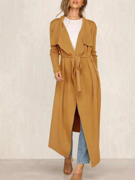 Milanoo Woman Outerwear Turndown Collar Casual Asymmetrical Sage Wrap Coat