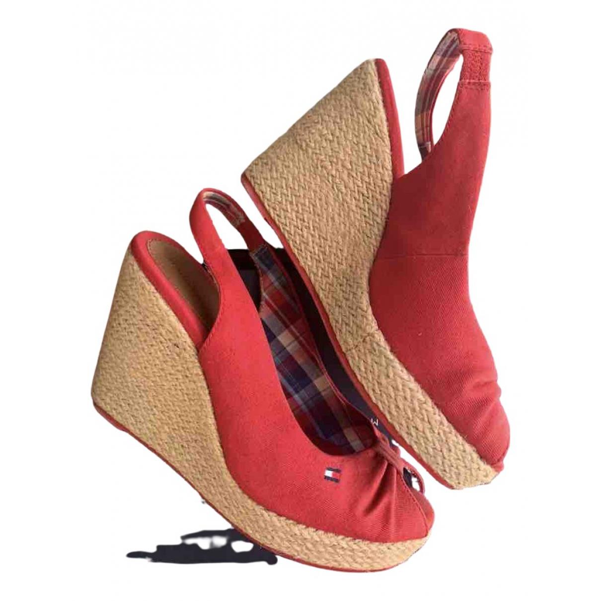 Tommy Hilfiger - Sandales   pour femme en toile - rouge