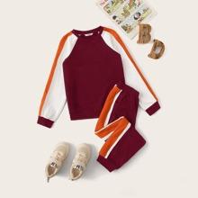 Pullover mit Kontrast und seitlicher Naht & Jogginghose mit schraegen Taschen Set